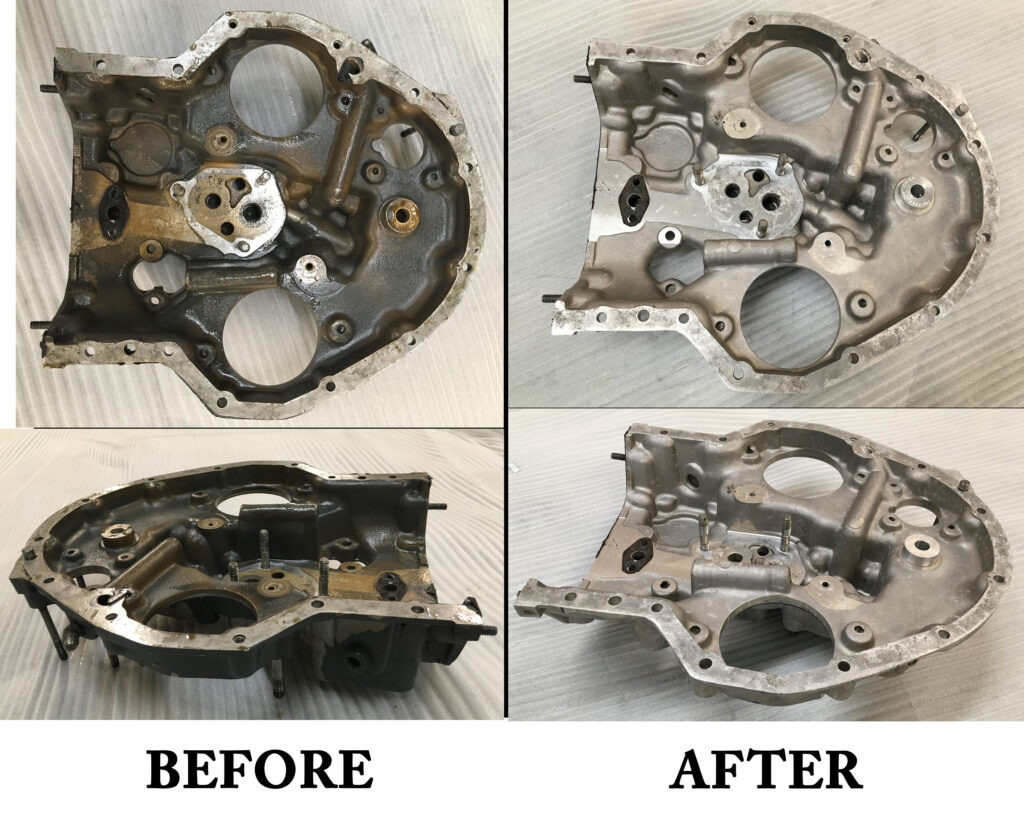 Aerospace engine before and after Pro Ultrasonics