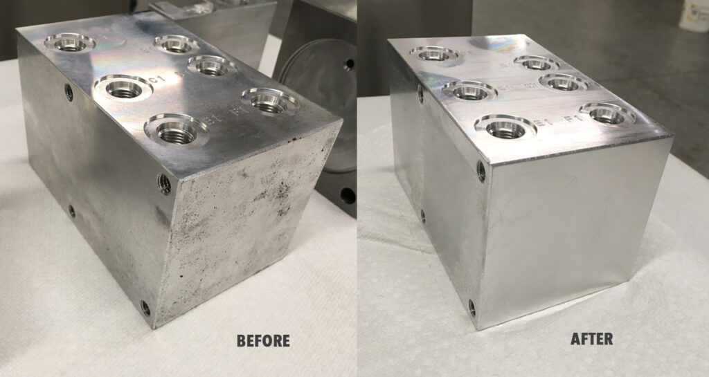 Heavy part with blind holes, before and after Pro Ultrasonics