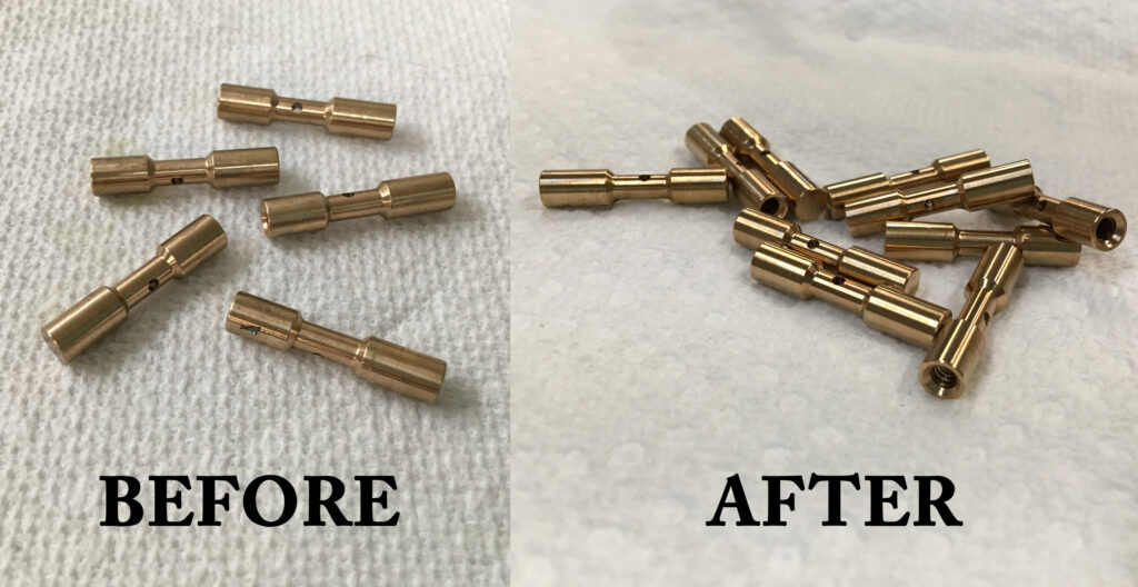 Small brass parts before and after Pro Ultrasonics