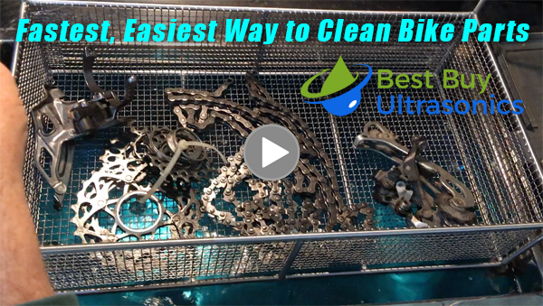 Demo video of cleaning bike parts with ultrasonics